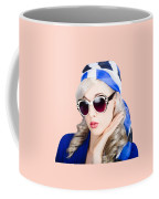 Young Beautiful Retro Girl In Glasses Coffee Mug