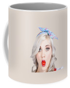 Young Beautiful Woman Holding A Bottle Cap In A Mouth Coffee Mug