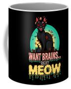 Zombie Cat Halloween Shirt Want Brains Right Meow Pun Coffee Mug