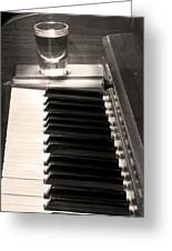 A Shot Of Bourbon Whiskey And The Bw Piano Ivory Keys In Sepia Greeting Card