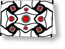 Abstract Geometric Black White Red Art No. 380. Greeting Card by Drinka Mercep