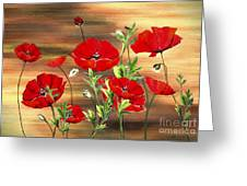 Abstract Poppies Painting On Wood Greeting Card