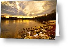 Androscoggin River Between Lewiston And Auburn Greeting Card by Bob Orsillo