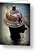 Antique Fire Hydrant - Blue Tones Greeting Card