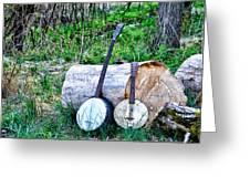 Banjos At The Woodpile Greeting Card