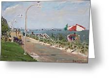 Beach Border Walk In Norfolk Va Greeting Card