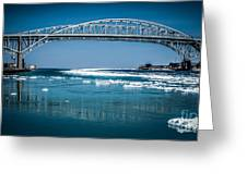 Blue Water Bridges With Reflection And Ice Flow Greeting Card