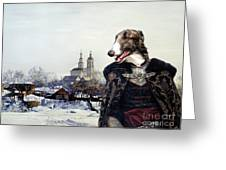 Borzoi - Russian Wolfhound Art Canvas Print Greeting Card