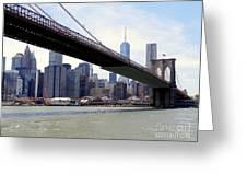Nyc Skyline-brooklyn Bridge Greeting Card