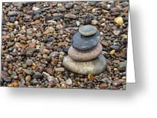 Cairn On Wet Pebbles Greeting Card