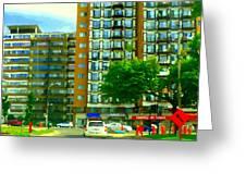 Carveli Restaurant Greek Italian Deli Cote St Luc Rd Urban Montreal Cafe City Scene Carole Spandau Greeting Card