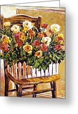 Chair Of Flowers Greeting Card