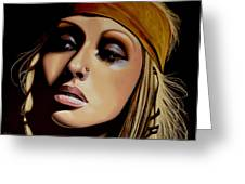 Christina Aguilera Painting Greeting Card