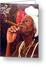 Cigar Lady Greeting Card