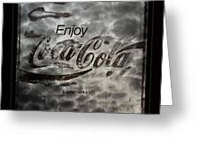 Coca Cola Sign Grungy Red Retro Style Greeting Card