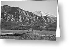 Colorado Rocky Mountains Flatirons With Snow Covered Twin Peaks Greeting Card