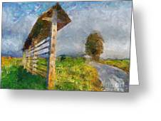 Country Road With Hayrack Greeting Card