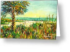 Crescent Beach Palm Greeting Card