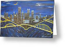 Crescent Over Pittsburgh  Greeting Card