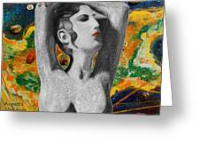Cyprus Map And Aphrodite Greeting Card by Augusta Stylianou