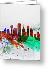 Dallas Watercolor Skyline Greeting Card