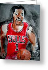 Derrick Rose Greeting Card by Sidney Holmes