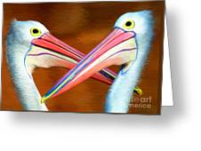Dueling Pelicans Greeting Card
