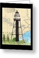 Duluth Harbor S Breakwater Inner Lighthouse Mn Nautical Chart Art Greeting Card