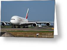 Emirates Airbus A380 Greeting Card