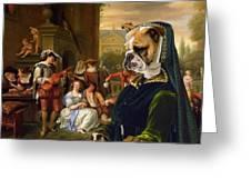 English Bulldog Art Canvas Print - The Garden Party Greeting Card