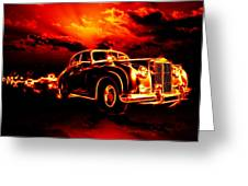 Fire  Flame  Hell  Classic Car  City Greeting Card