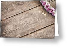 Flower Frame On On Wood Background Greeting Card