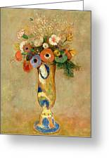 Flowers In A Painted Vase Greeting Card by Odilon Redon
