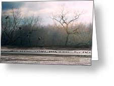 Flying Geese Surrealism Greeting Card