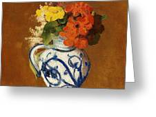 Geraniums And Other Flowers In A Stoneware Vase Greeting Card