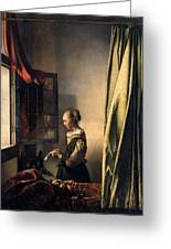 Girl Reading A Letter By An Open Window Greeting Card by Johannes Vermeer