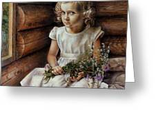 Girl With Wild Flowers Greeting Card