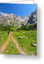 Hiking In Contrin Valley Greeting Card