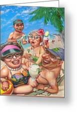 Humorous Snowbirds On Vacation - Senior  Citizen Citizens - Beach - Illustration  Greeting Card