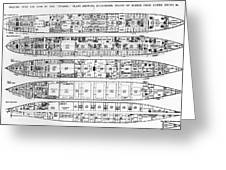 Inquiry In The Loss Of The Titanic Cross Sections Of The Ship  Greeting Card