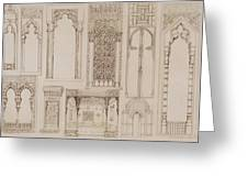 Islamic And Moorish Design For Shutters And Divans Greeting Card by Jean Francois Albanis de Beaumont