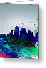 Kansas City Watercolor Skyline Greeting Card