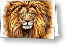 Lion Head In Front Greeting Card