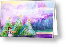 Little Snowman And Trees Greeting Card
