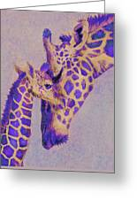 Loving Purple Giraffes Greeting Card