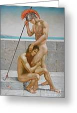 Original Man Body Oil Painting  Gay Art -two Male Nude By The Sea Greeting Card