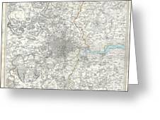 Map Of London And Environs Greeting Card