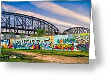 Mccarther Bridge And Grafiitti Flood Wall Greeting Card