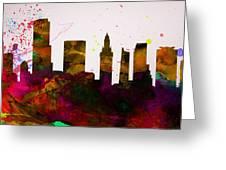 Miami City Skyline Greeting Card