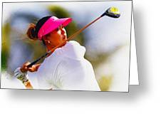 Michelle Wie Hits A Tee Shot Greeting Card